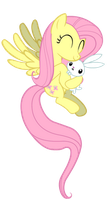 Fluttershy and Angel by clyvore
