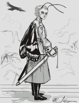 Insect Charter sketch- Calista of Albuquerque by BoxofLizards
