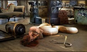 Naga girl my little snake is sleeping by FueledbypartII