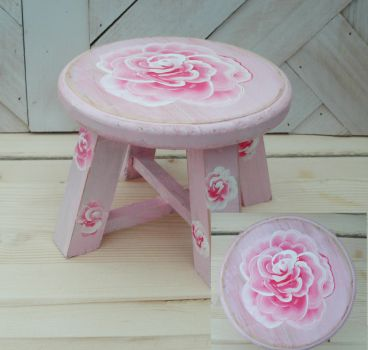 Pink Rose Plant Stand Stool by sweetpie2