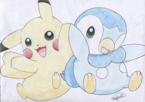 Pikachu and Piplup by PikachuHolo