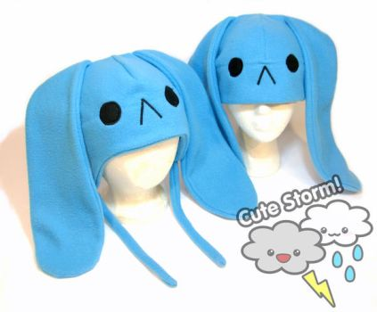 Sad blue bunny hat by The-Cute-Storm