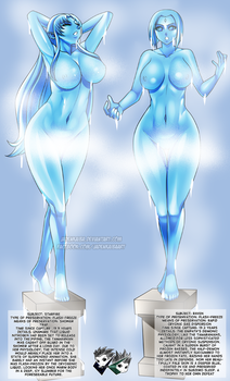 COMMISSION:  Starfire and Raven Statue by jadenkaiba