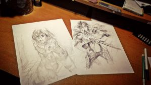 Levi and Mikasa Sketches by MaryM8D