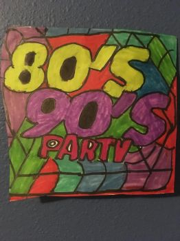 80s 90s Party Logo Art Colorful Design Drawing  by NWeezyBlueStars23