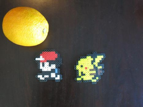 Perler Red with Pikachu and Innocent Orange by InvisibleGunslinger1