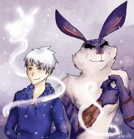Jack Frost and Bunnymund 6 by saeru-bleuts