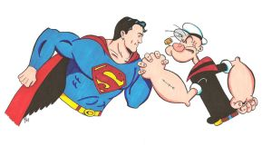 Popeye and Superman 3 by zombiegoon