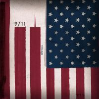 9 11 WTC On Stars And Stripes by monkeycrisisonmars