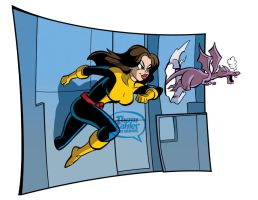 Kitty Pryde and Lockheed by tzahler