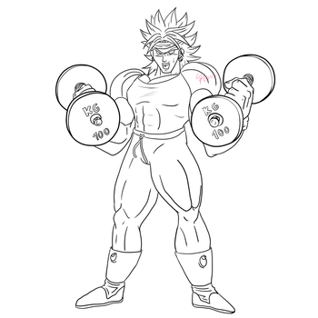 Broly the trainer lineart by ShynTheTruth