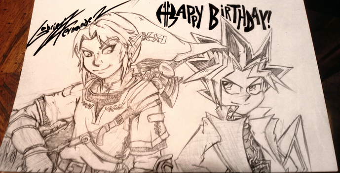 AW YEAH! Link and Yami Yugi by Geibuchan