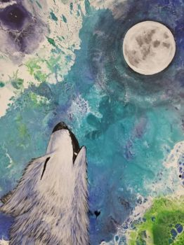 Wolf howl acrylic complete by TheJennaBrown