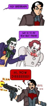 Red Hood meets Pennywise by Jasontodd1fan
