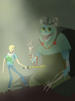Adventure Time: Finn vs The Lich by Darth-Hippie