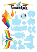 Rainbow Dash Papercraft by Kna