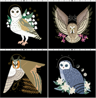 Owl Familiars Xstitch Patterns (Callupish) by pinkythepink