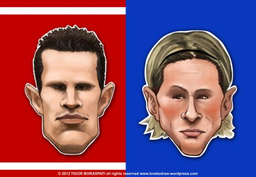 Van Persie vs Torres caricature by pati88