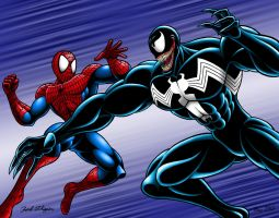 Spider-Man vs Venom Commission by Mystic-Forces