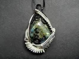 Labradorite wire wrapped polymer clay pendant by dogzillalives